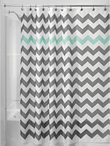 """iDesign Chevron Fabric Shower Curtain Water-Repellent and Mold- and Mildew-Resistant for Master, Guest, Kids', College Dorm Bathroom, 72"""" x 72"""", Gray and Mint Green"""