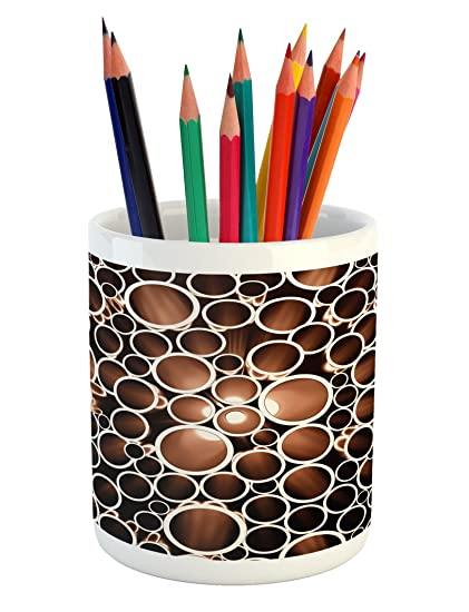 11d6f970bac Ambesonne Industrial Pencil Pen Holder, Round Pipes in 3D Style  Construction Theme Modern Circles Print