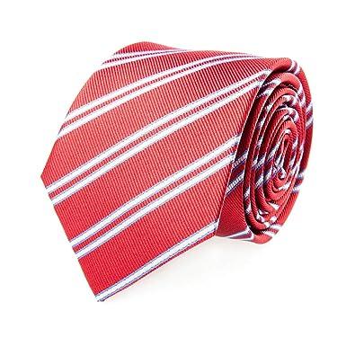 Pelo Lazo de seda clásicas corbata de seda rayada blanca roja 7 cm ...
