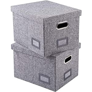 Amazoncom Viluh Decorative File Box With Lid Collapsible