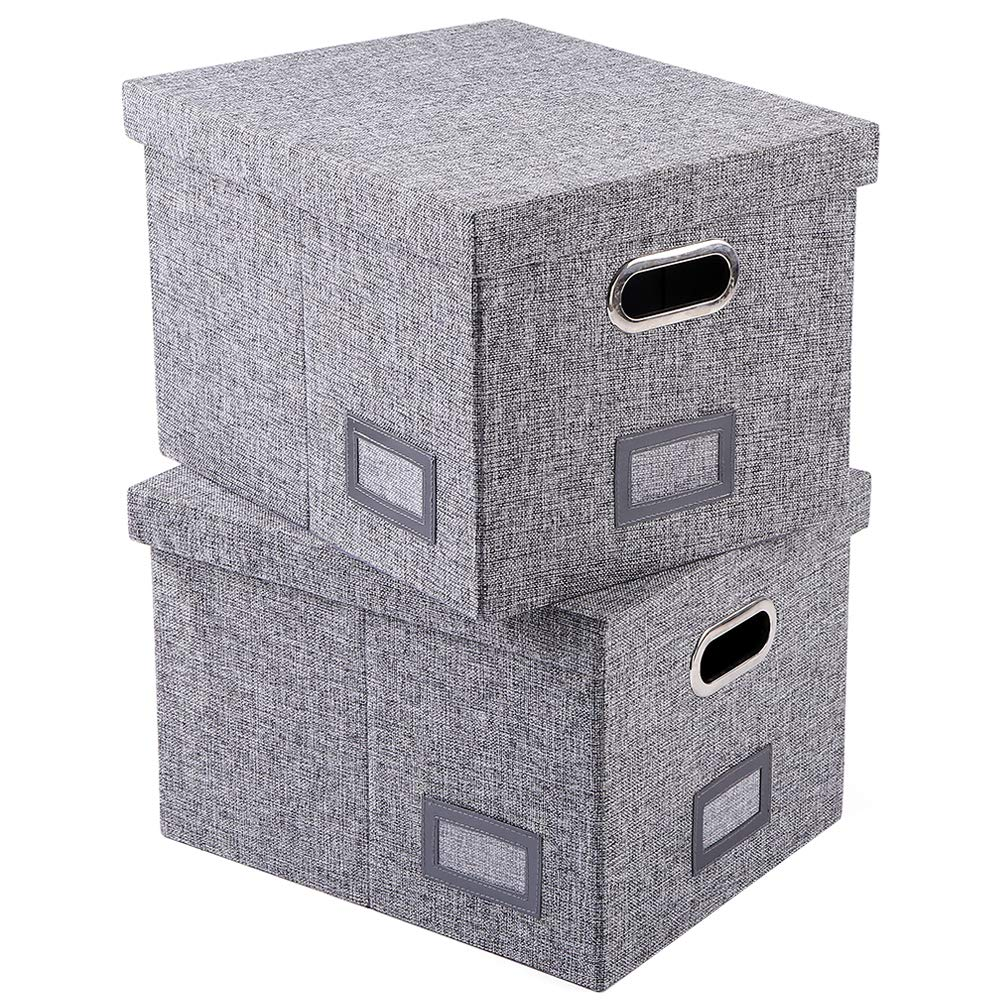 Superjare Collapsible File Box, Pack of 2, Storage Office Box Organizer with 60 Lbs Weight Capacity, Handles and Removable Lid for Letter/Legal, Grey Linen Fabric