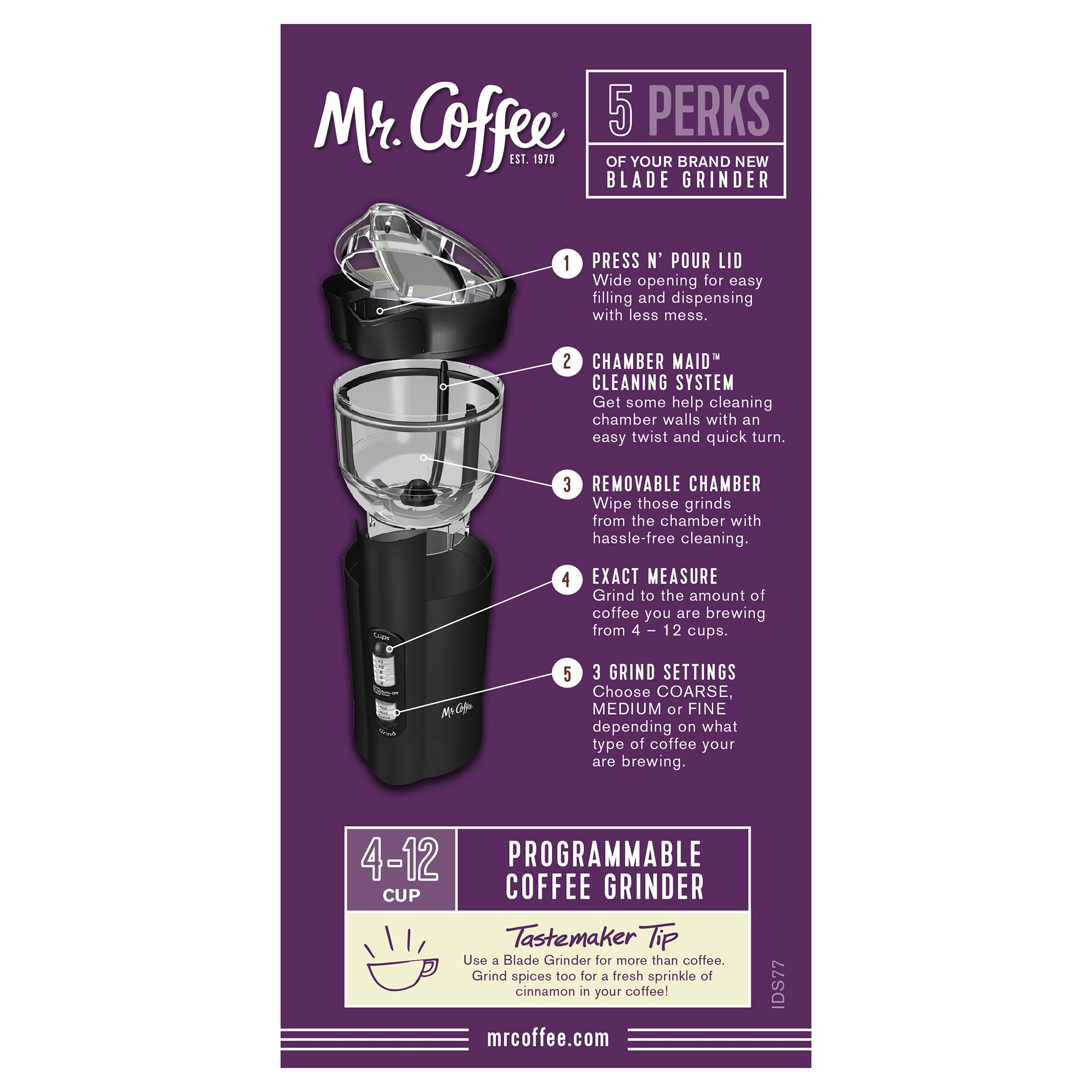 Mr. Coffee 12 Cup Electric Coffee Grinder with Multi Settings, IDS77-RB by Mr. Coffee (Image #5)