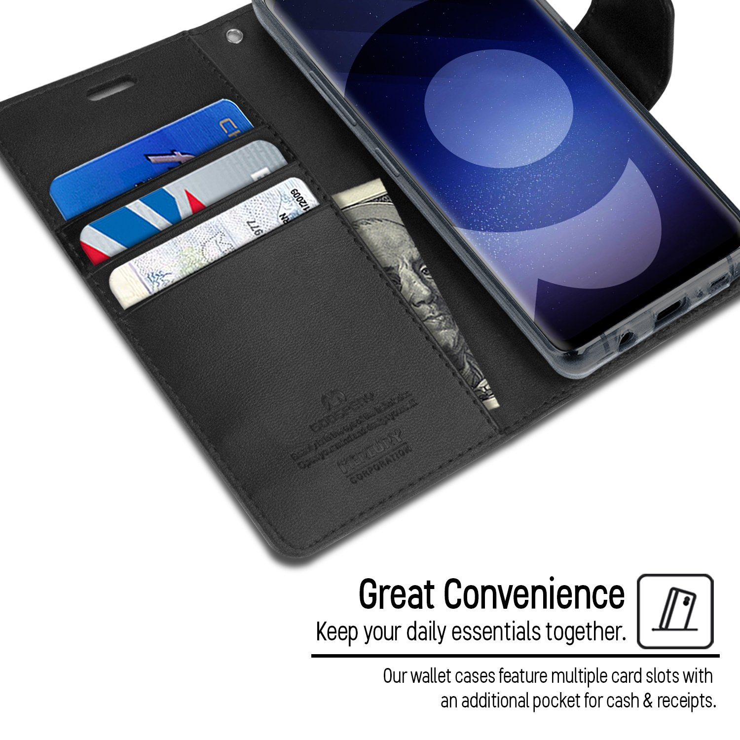 Goospery Galaxy S9 Case For Samsung Wallet S8 Canvas Diary Navy Sonata Drop Protection Smooth Pu Leather Shockproof Tpu Casing Card