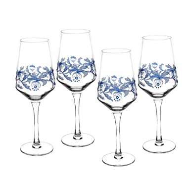 Spode Blue Italian Glassware Wine Glasses, S/4