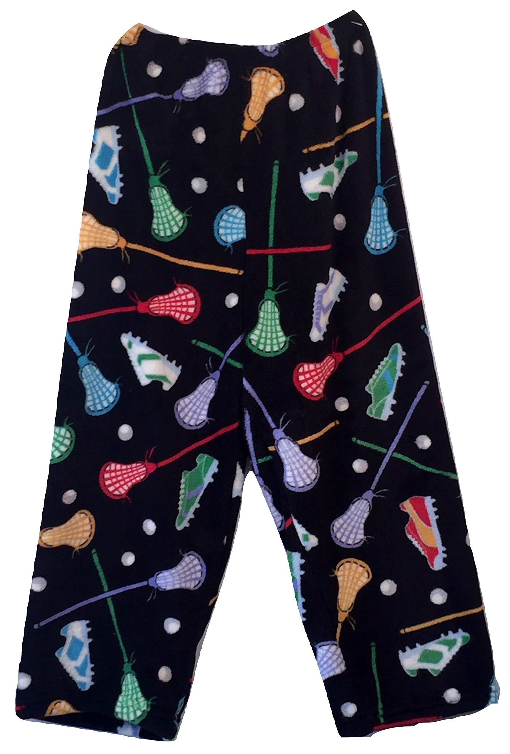 Made with Love and Kisses Boy's Fuzzy Plush Pajama/Loungewear Pants - Black Lacrosse - 8/10