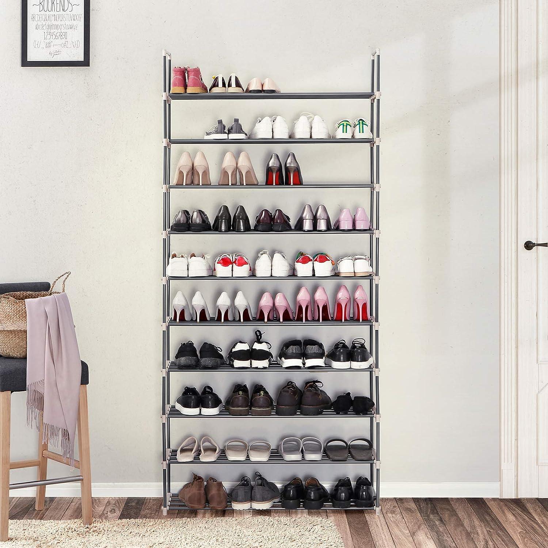 Zapatero metálico Songmics con 10 baldas y capacidad para 50 pares de zapatos
