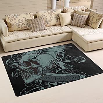Gothic Punk Skull Area Rug Carpet Floor Mat For Dining Room Living Room  Bedroom,Size