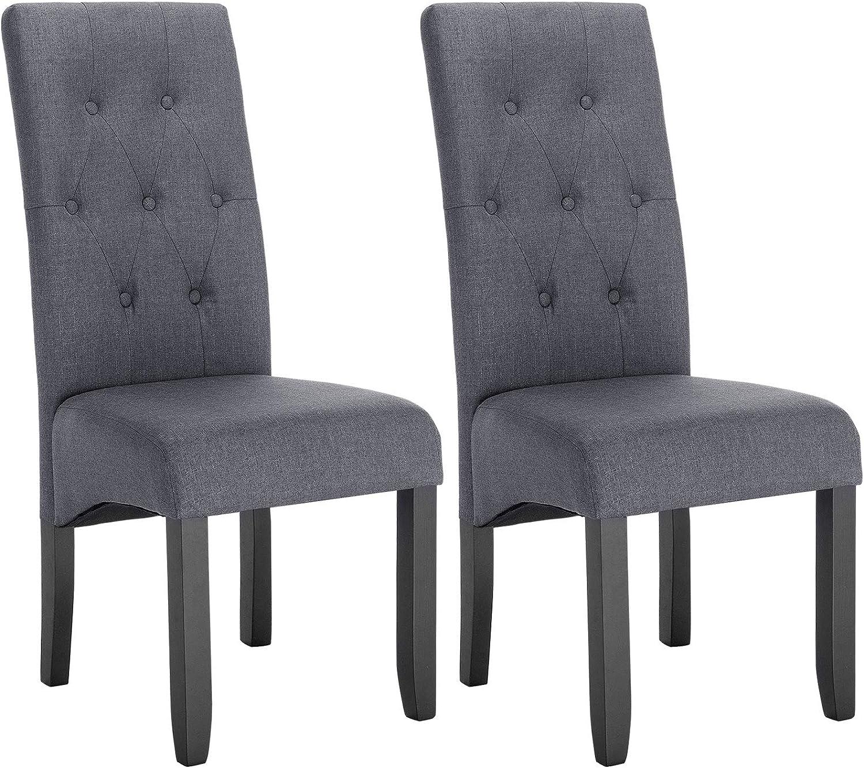 WOLTU Lot de 2 Chaises de Salle à Manger chaises de Cuisine rembourrée en Lin Pieds en Bois Massif,Gris Foncé BH106dgr-2