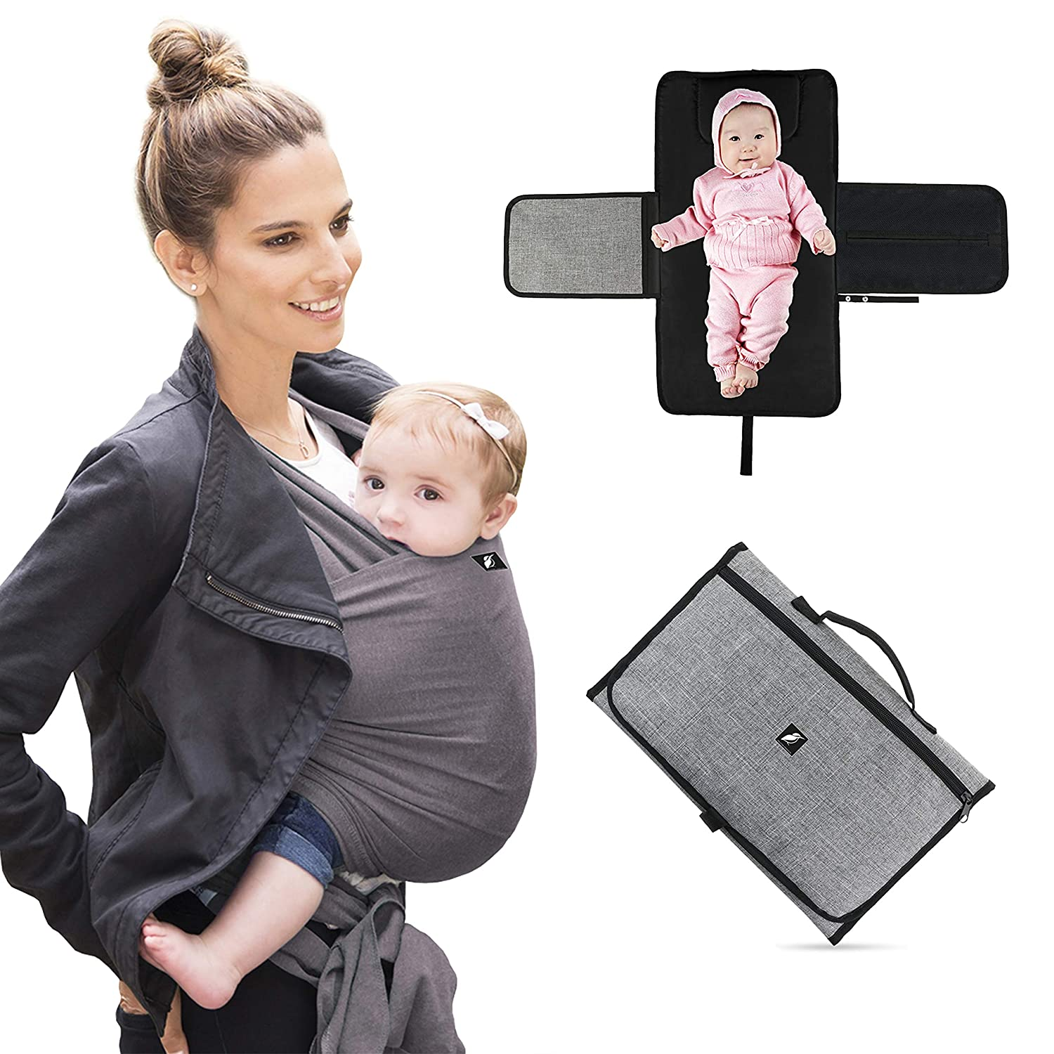Halcyon Products – 1 Baby Sling Wrap Carrier with A Complimentary Portable Travel Baby Changing Mat Changing Pad – A Must for All Parents with Newborn Infants