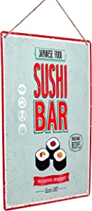 "Monarch Housewares Tin Metal Signs - ""Sushi Bar"" – Foodie, Food and Restaurant, Modern, Retro Style, Wall Decorations"