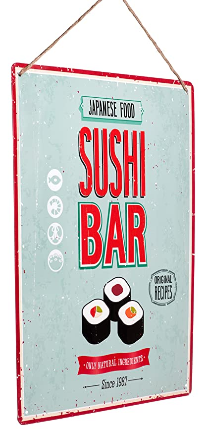 Monarch Housewares Tin Metal Signs Sushi Bar Foodie Food And Restaurant Modern Retro Style Wall Decorations