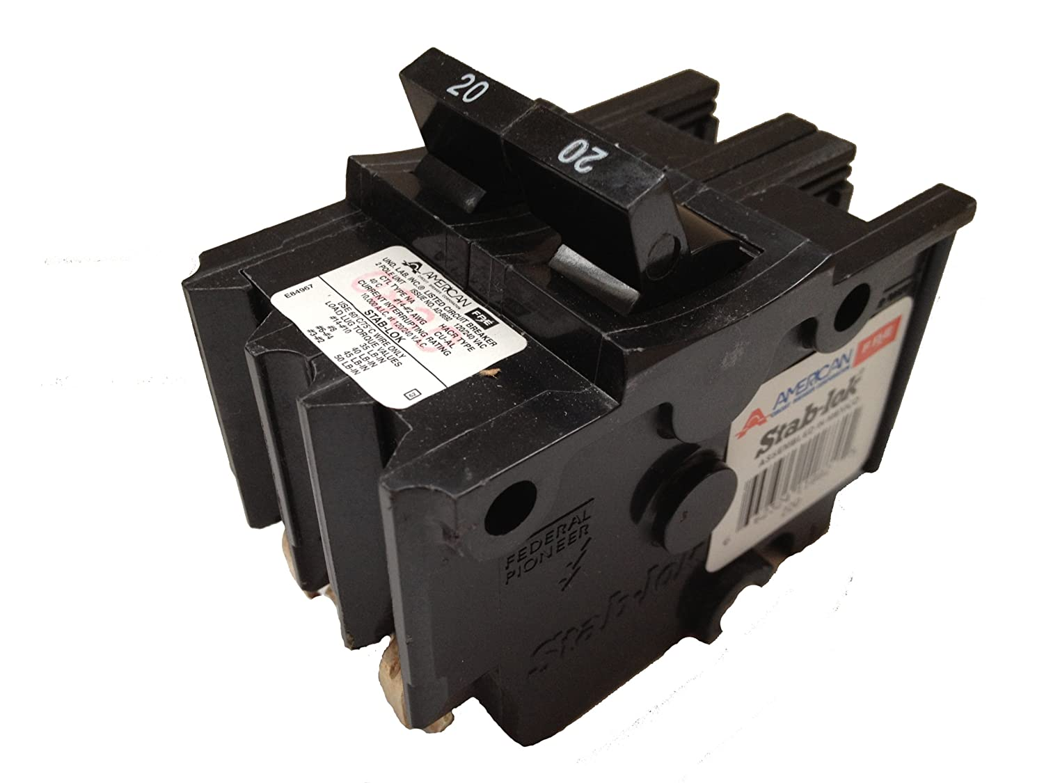 1- Federal Pacific Stab-Lok NA220 20 AMP 2-POLE Challenger / FPE THICK STYLE Circuit Breaker