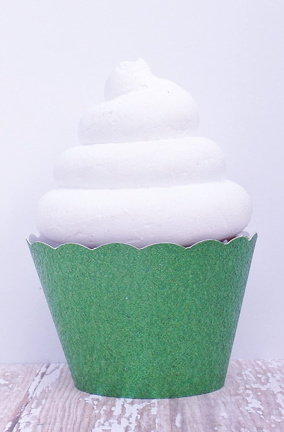 Green Metallic Glitter Cupcake Wrappers - Standard and Mini Sized Holders - Set of 12