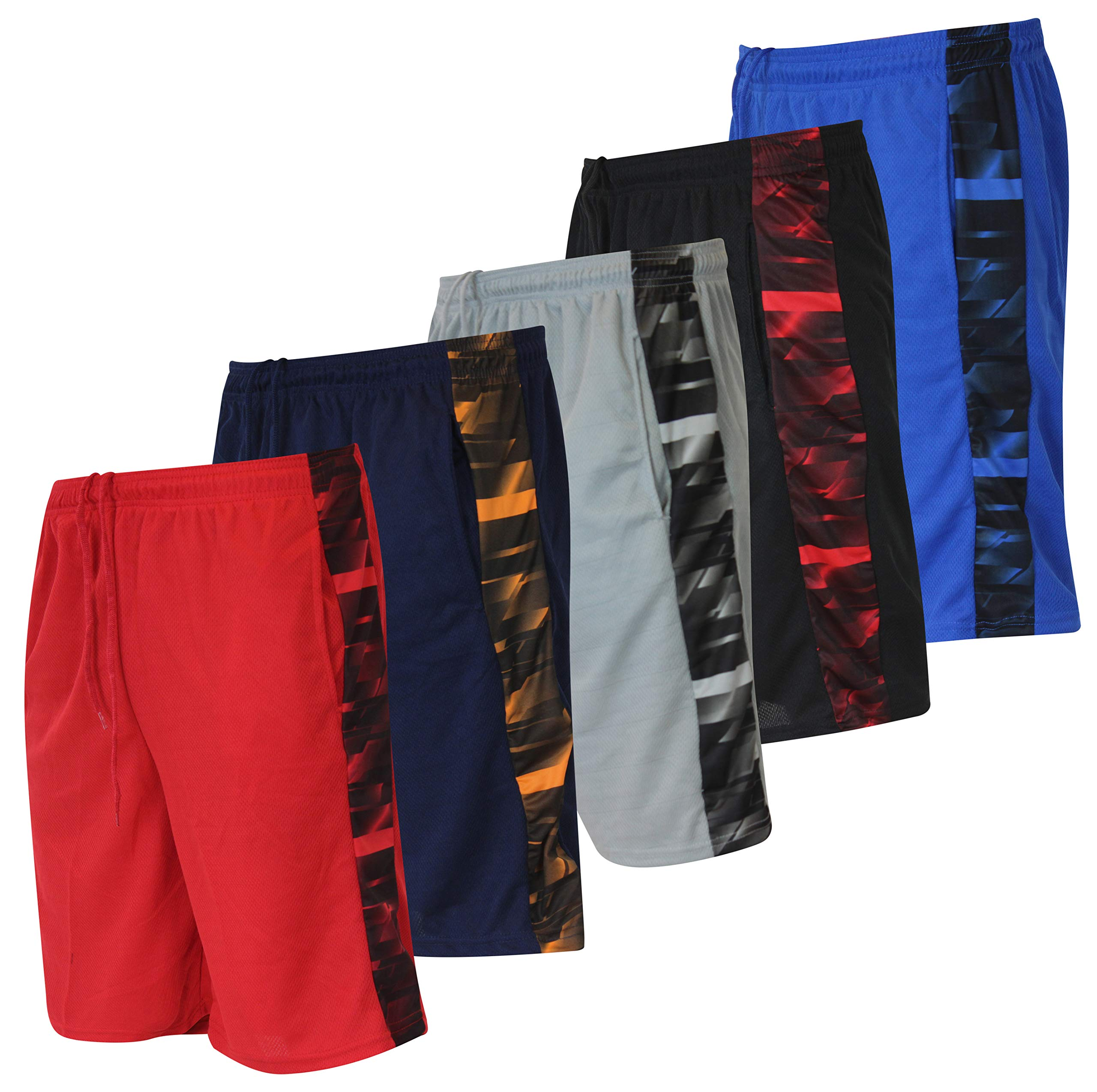 Men's Active Athletic Basketball Essentials Performance Gym Workout Shorts with Pockets - Set 4-5 Pack, S