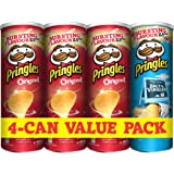 Pringles Original Flavored Chips 3 Cans Plus Pringles Salt and Vinegar Flavored Chips Can,  165 grams each (Pack of 4 cans)