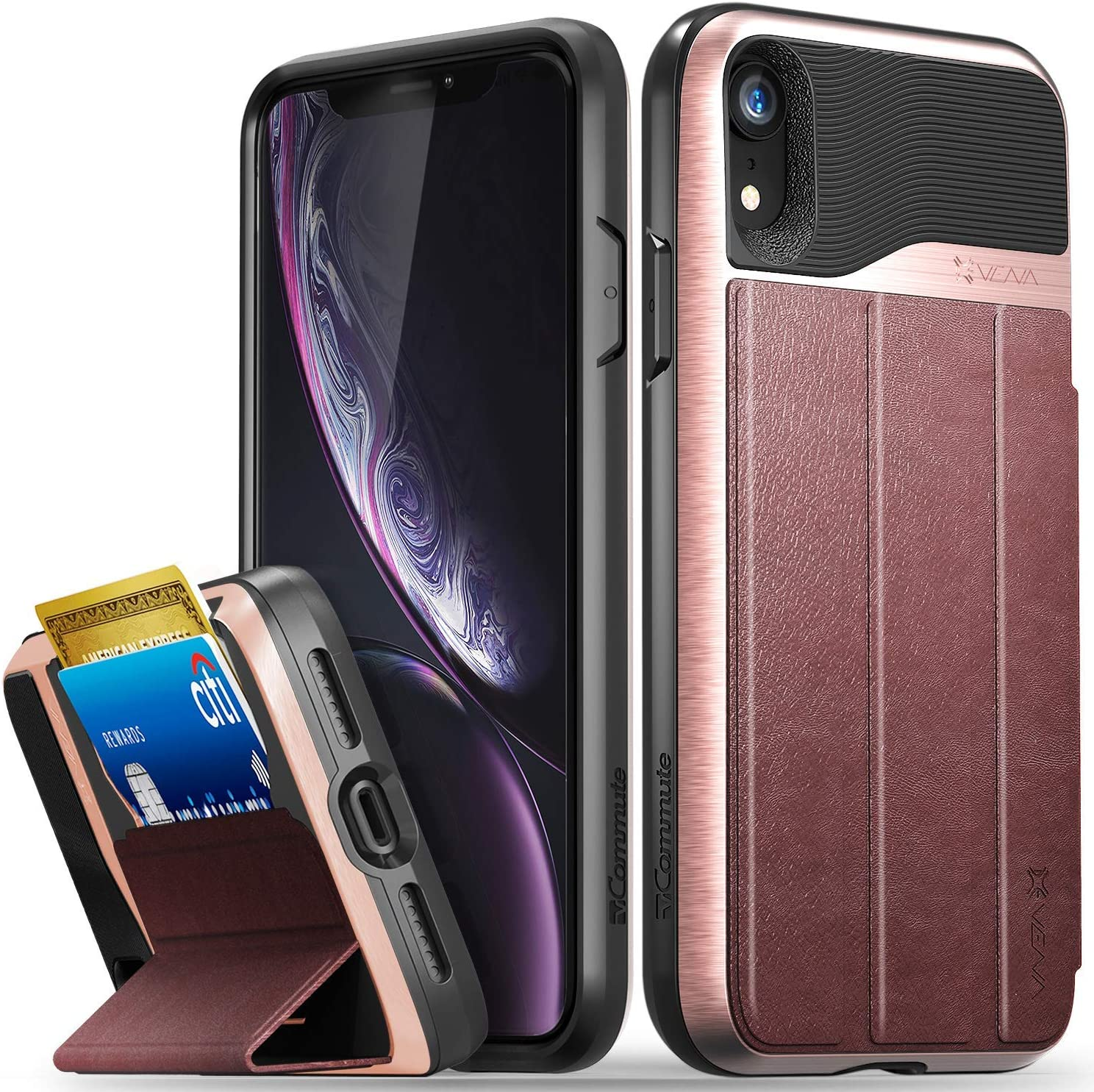Vena iPhone XR Wallet Case, vCommute (Military Grade Drop Protection) Flip Leather Cover Card Slot Holder with Kickstand, Designed for Apple iPhone XR - Rose Gold