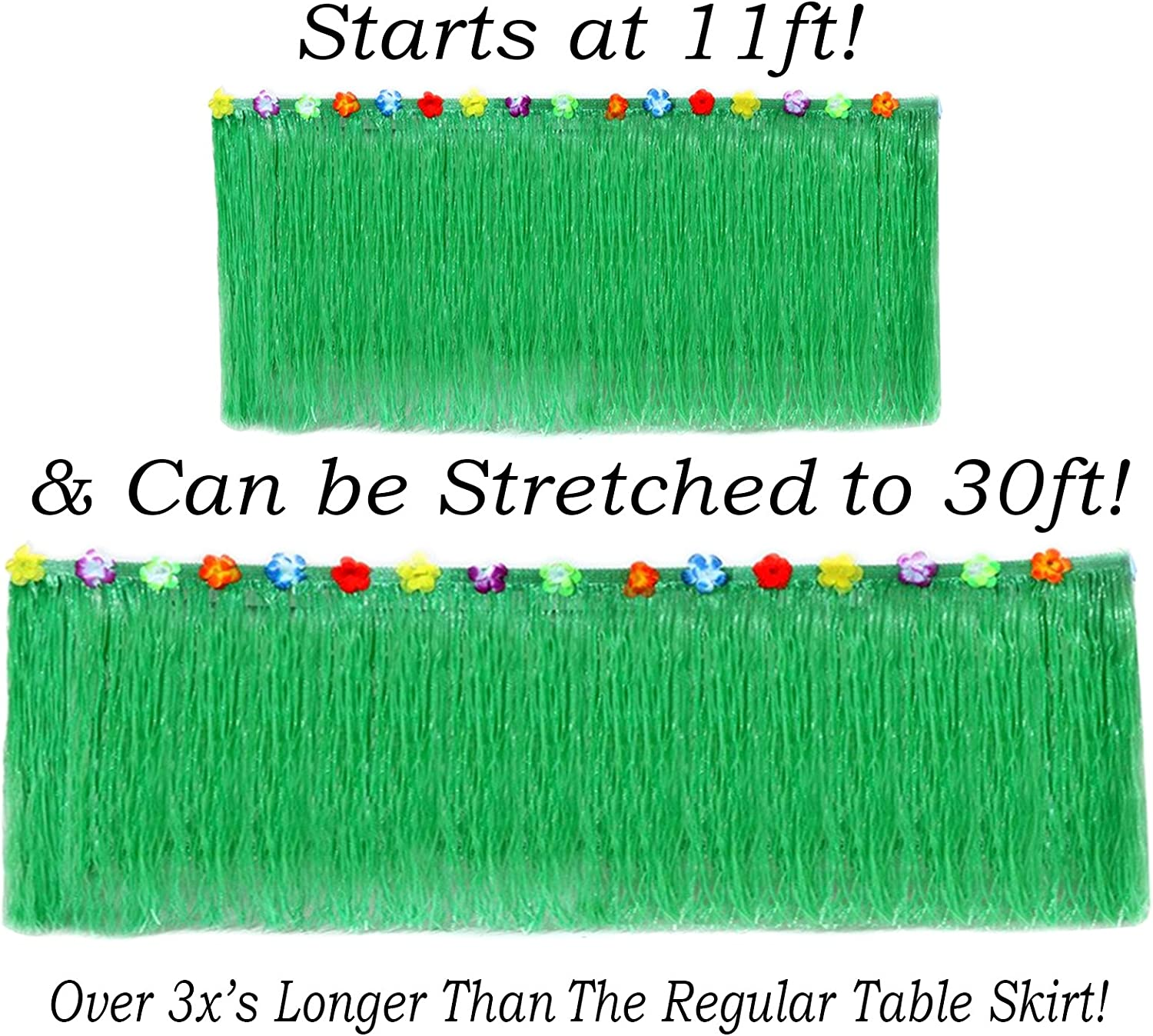 "Hawaiian Table Skirt 11ft Long Stretches to 30ft! | (29"" Tall) Green Hibiscus Luau Party Decoration 
