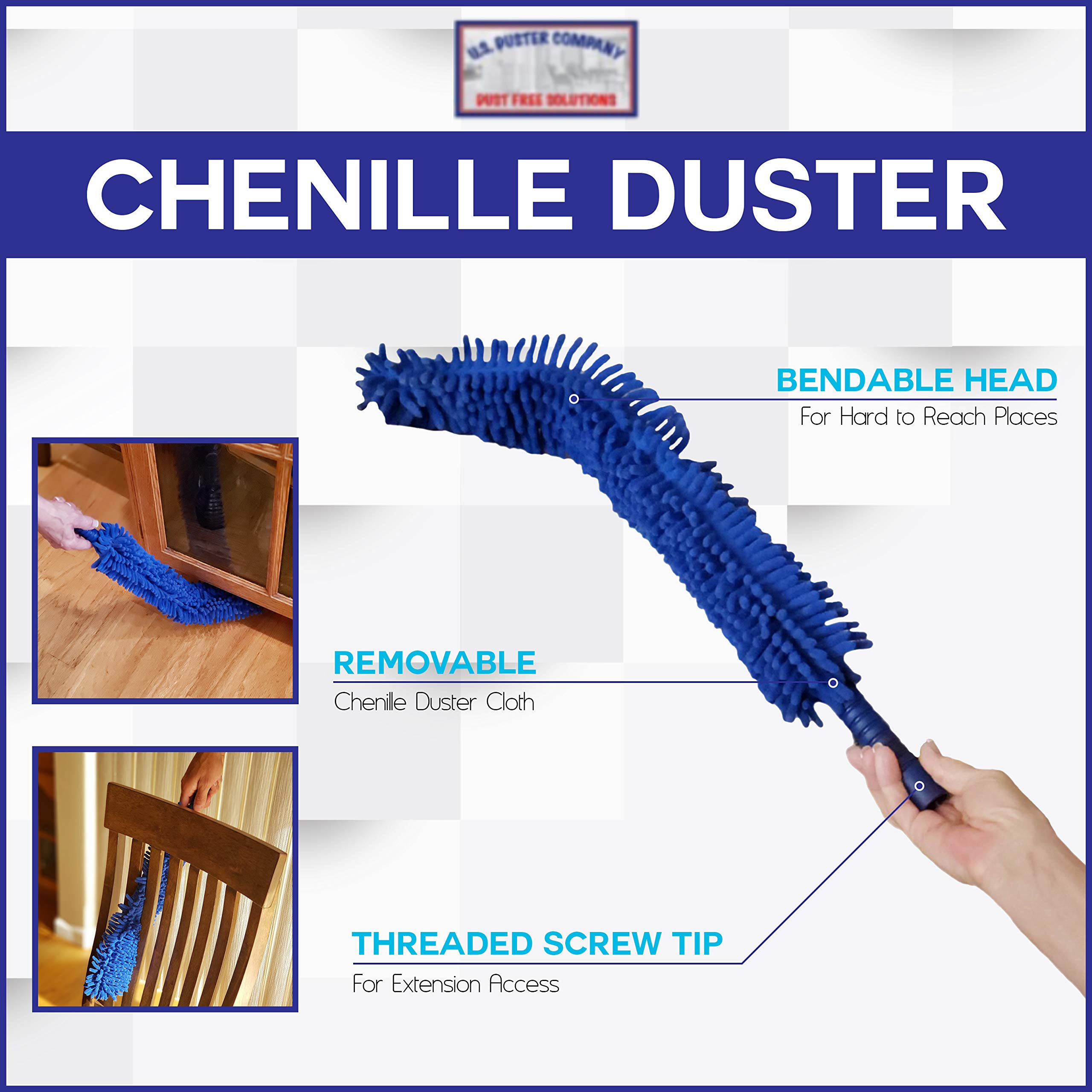U.S. Duster Company Chenille Extension Duster, Aluminum Extension Rod, Extend 18-20 feet Cleaning High Ceilings, Cathedral Ceilings by U.S. DUSTER COMPANY DUST FREE SOLUTIONS (Image #4)