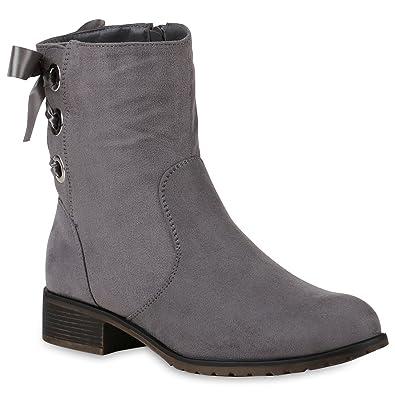 Stiefelparadies Klassische Stiefeletten Damen Schuhe Stiefel Leicht  Gefüttert Satinoptik 147191 Grau Berkley 36 Flandell