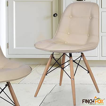 Eames Replica Cushioned Dining Chair/Cafe Chair/Side Chair/Accent Chair (Beige) Color by Finch Fox