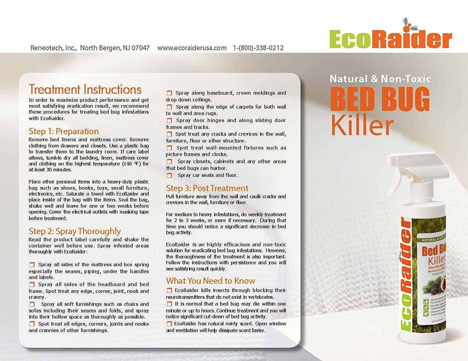 Amazon.com : Bed Bug Killer by EcoRaider 16 oz, Fast and Sure Kill with  Extended Residual Protection, Natural & Non-Toxic, Child & Pet Friendly :  Insect ...