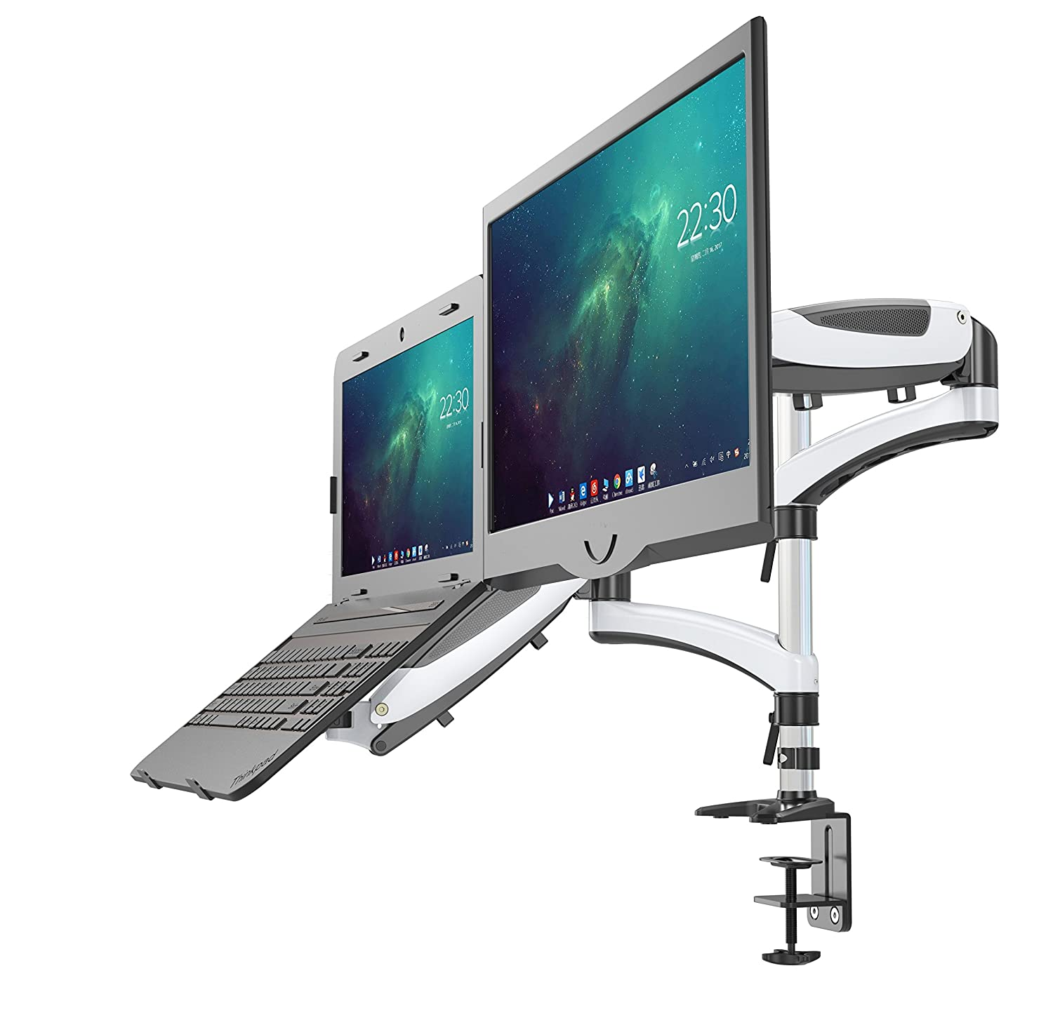 Fully Adjustable Dual Gas Spring 2in1 Monitor & Laptop OR Double Monitors Mount/Stand with 2 Swing Arms for Monitors up to 27, Both Desk Clamp and Grommet Mounting Options in The Box, LH08 (White) Shoppingall