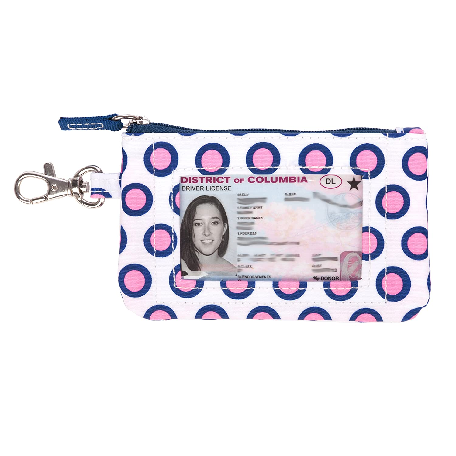SCOUT IDKase Card Holder or Wallet, ID Holder Window, Key Clasp, Water Resistant, Zips Closed, Guys and Dots 24270
