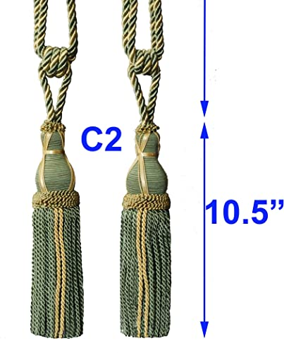 One Pair Decorative Designer s Extra Heavy Long Tie-back Backs C2 Curtains drape Tassels Tapestry Wall Hanging