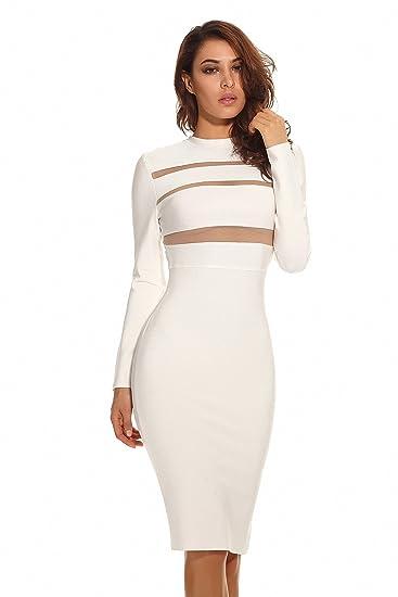 abfad3a2c2b4 UONBOX Women's Sexy Mesh See Through Sheer Block Long Sleeves Clubwear Bandage  Dress White S