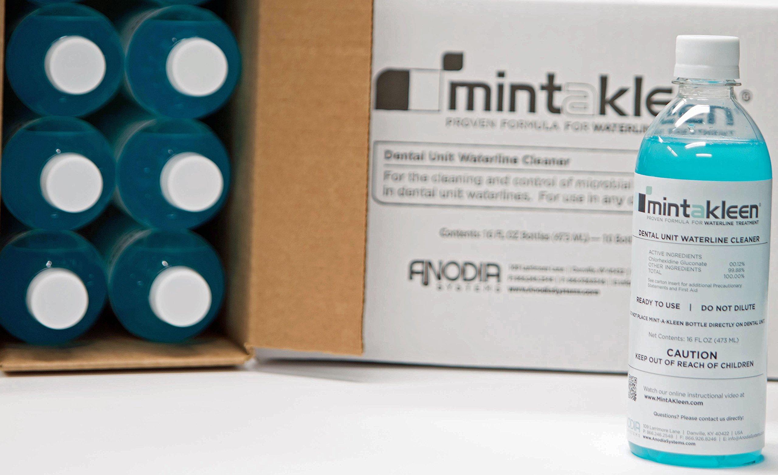 Mint-A-Kleen 6 Pack Dental Unit Waterline Cleaner MINTAKLEEN SIX 16 oz Bottles (24 Treatments)