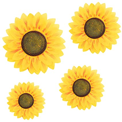 4Pcs Removable Wall Decals 3D Sunflower Wall Sticker Wall Art Home Decor  Sunflowers Wall Stickers Decal