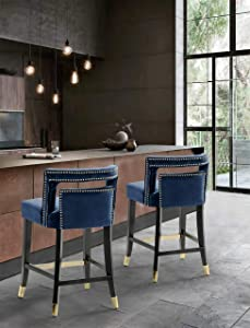 Iconic Home FCS9493-AN Irithel Counter Stool Chair Velvet Upholstered Nailhead Trim Half Back Seat Design Tone Footrest Bar Gold Tip Tapered Wood Legs Modern Transitional, Navy