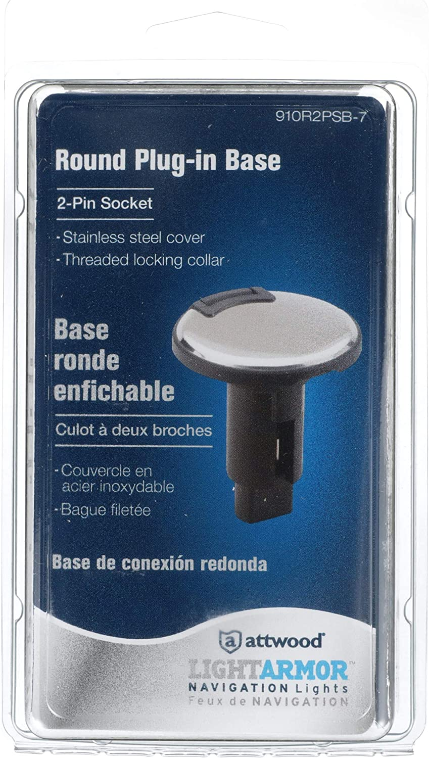 Atwood 910R2PSB-7 Light Base with 2 Pins Black Lid Stainless Steel Overmold 306