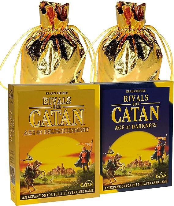 Rivals for Catan 2 Player Juego de Cartas con la era de la iluminación y la era de la Oscuridad expansiones || Bono 3 Bolsas de Almacenamiento de Tela Dorada con cordón ||