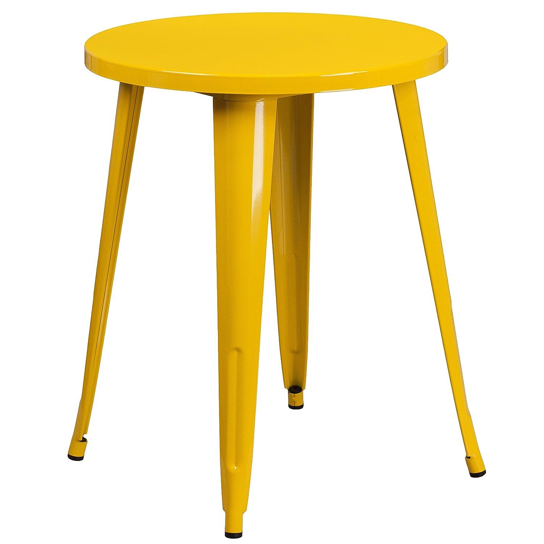 Flash Furniture 24'' Round Yellow Metal Indoor-Outdoor Table
