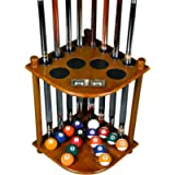 Cue Rack Only - 8 Pool Billiard Stick & Ball Floor Stand with Scorer Choose Mahogany, Dark Oak, Natural or Black Finish