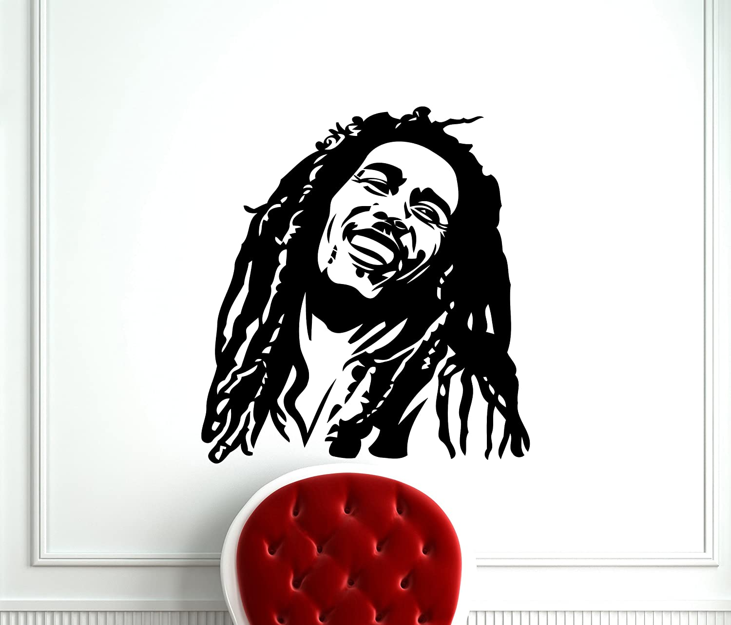 Amazon com bob marley wall decal reggae music vinyl sticker room interior decoration home kids room art design removable waterproof mural 226s home