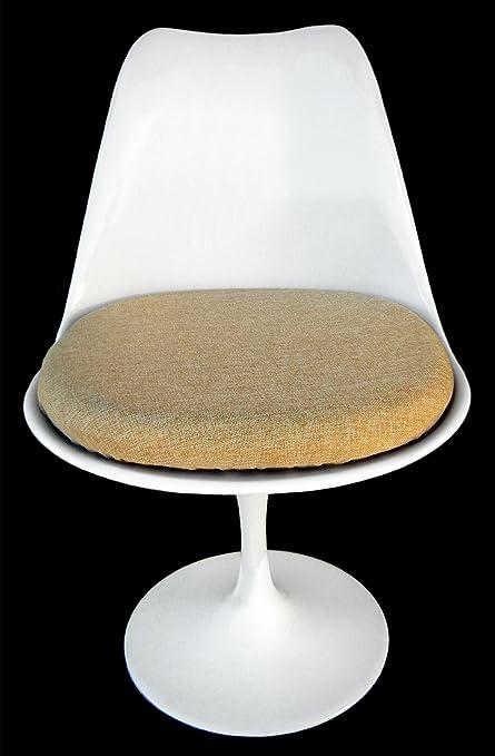 Tan Tulip Chair Cushion Cover Poly Linen