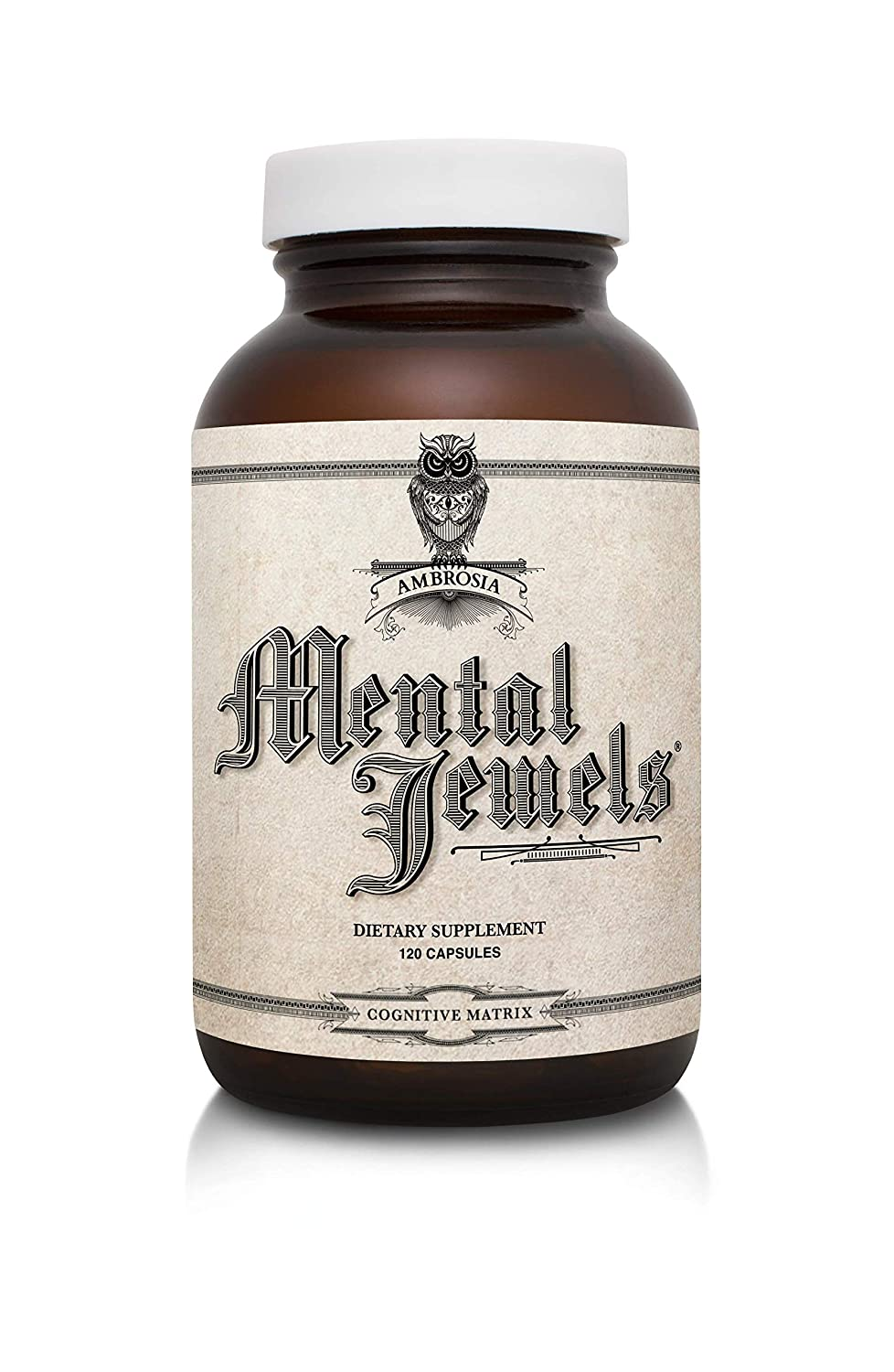 Ambrosia Mental Jewels Capsules – Cognitive Enhancer Increase Memory, Communication Skills, Concentration Focus Alpha GPC, Choline, BaCognize 120 Veggie Capsules 30 Day Supply