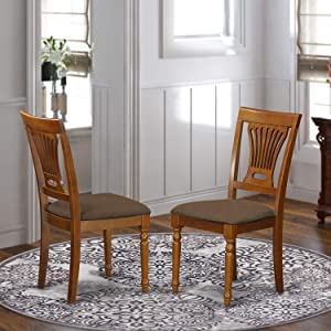 East West Furniture PVC SBR C Plainville modern dining chair Linen Fabric Seat and Saddle Brown Solid wood Structure wood dining chair set of 2