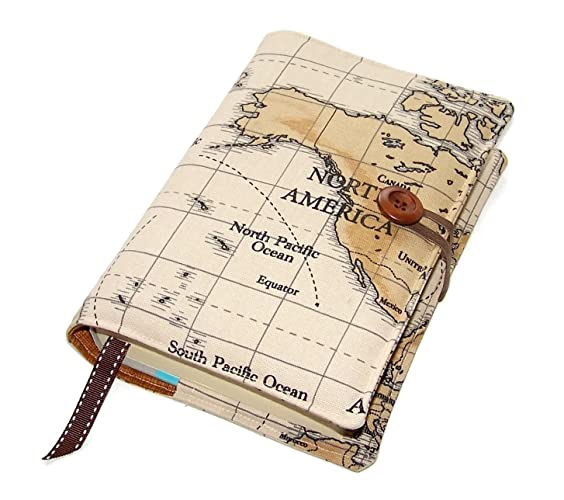 handmade book cover world map choice of continent