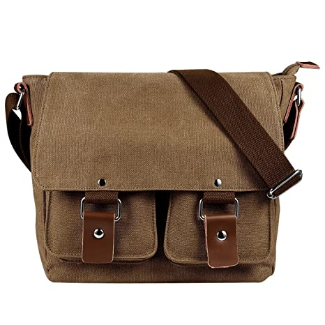 a192f47b7e9 Image Unavailable. Image not available for. Color  Men s Multifunctional  Vintage Canvas Leather Messenger Bag ...