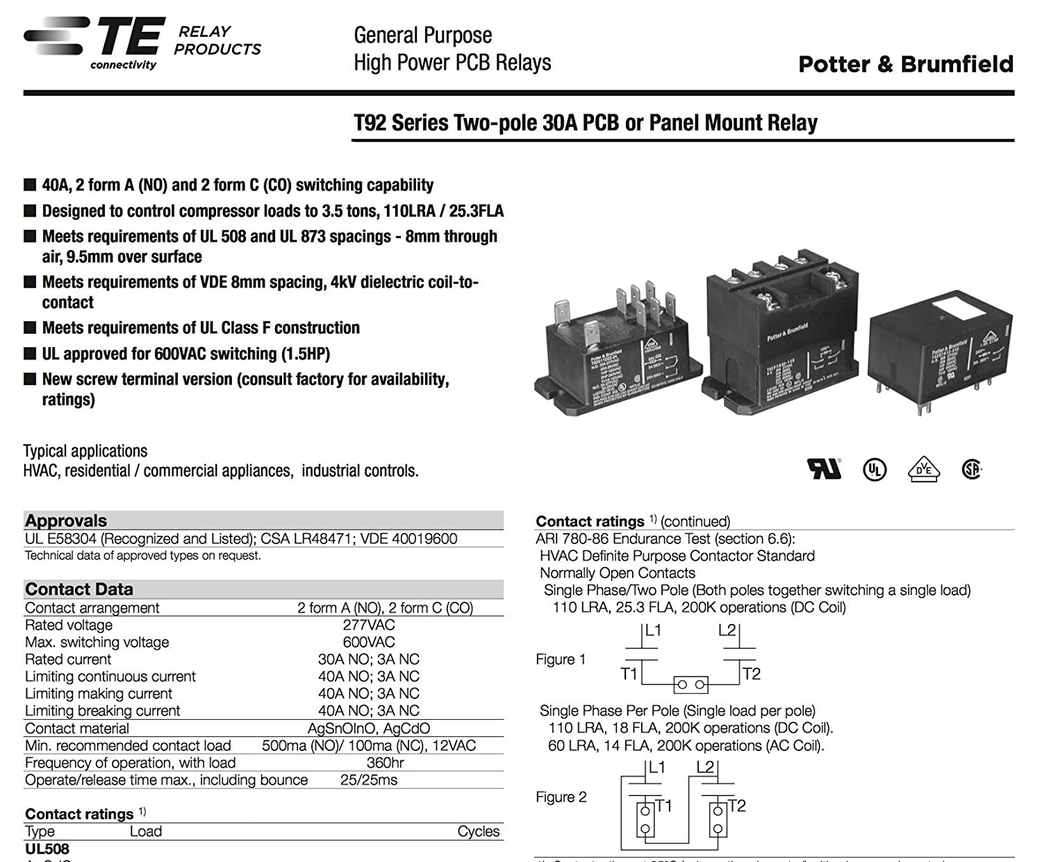 Te Connectivity Potter Brumfield T92p11a22 24 Power Relay Dpdt Electrical Normally Open 24vac 30a Panel