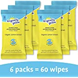 Originally Yellow Hands and Face Wipes Organic Lemon [Value pack of 6]