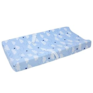 Carter's Take Flight Airplane/Cloud/Star Super Soft Changing Pad Cover, Blue, Navy, White,