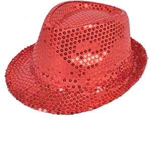 Buckletown Sequined Fedora Hat (Red) 64a4eb931b6c