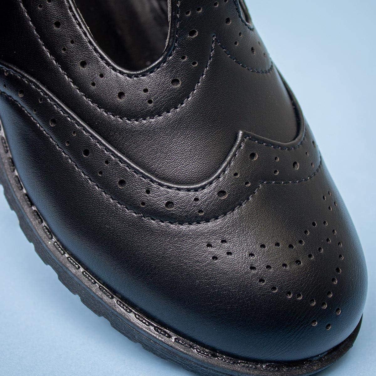 Lilley Girls Black T-Bar Brogue Shoe