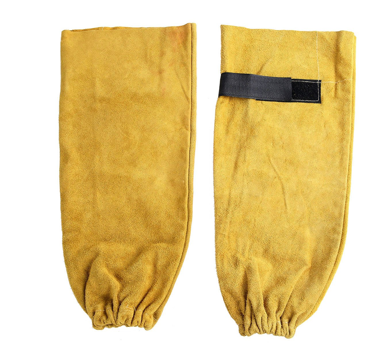 Ouzong Heat Resistant Leather Welding Sleeves with Elastic Cuff Welding Apparel for Welding Glass Transport and Processing 18'' Golden Brown