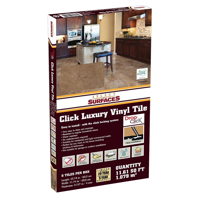 Select surfaces click luxury vinyl tile flooring mountain slate select surfaces click luxury vinyl tile flooring mountain slate 1161 sq ft amazon dailygadgetfo Images