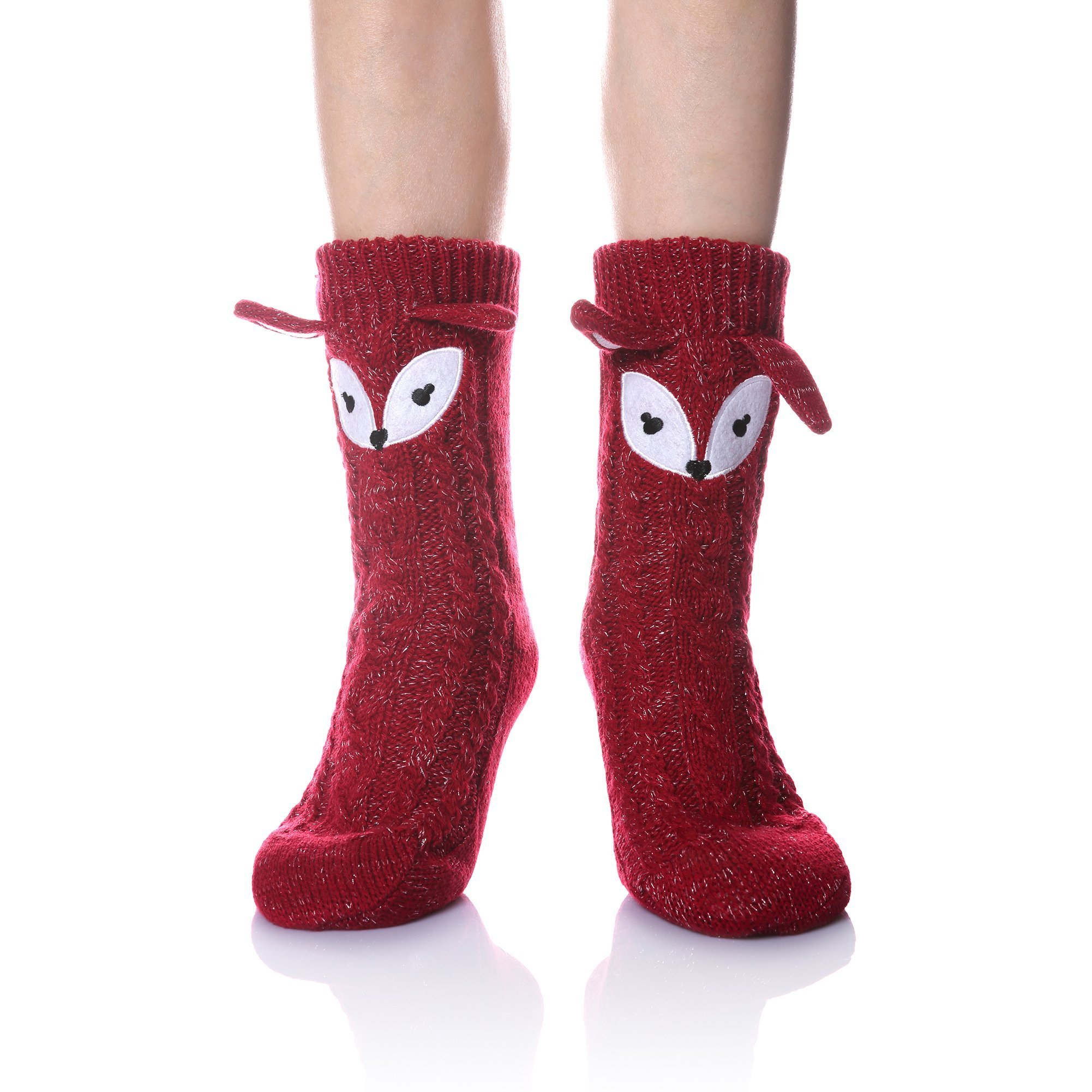 Velice Women's Soft Cute Cable Knit Animal Warm Fuzzy Fleece Lining Winter Cozy Home Slipper Socks (Red Fox)